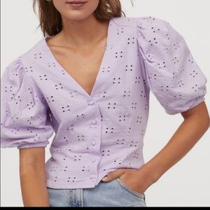 Eyelit puff sleeve blouse / crop top